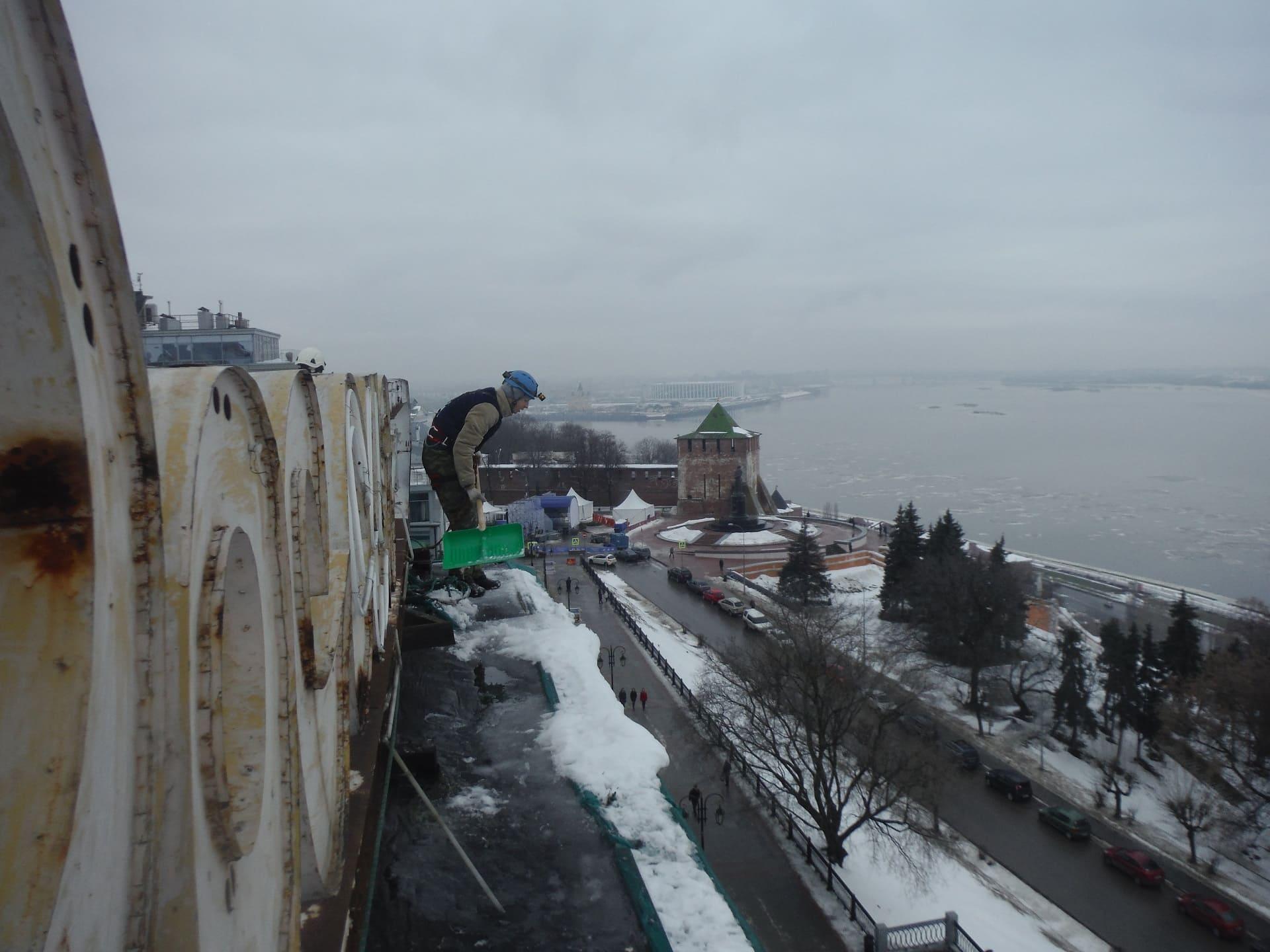 Чистка плоской крыши от снега